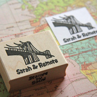 Mounted Brooklyn Bridge Stamp with your name & your loved one's, Wedding stationery, Brooklyn NY