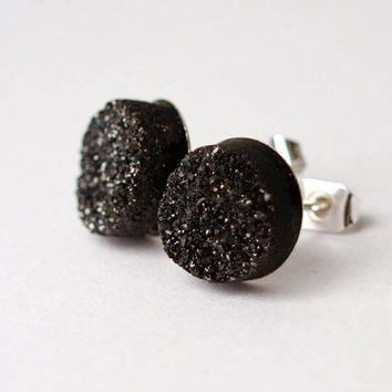 Boho Earrings - Dark Moon - Black Toned Raw Druzy Round Quartz Agate Stud Earrings - Post, Jewelry, Wedding Accessories