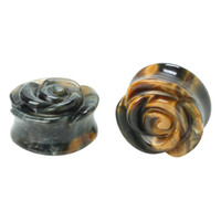 "Stone Tigers Eye Rose Saddle Plug 2 Pack 1/2""-00"
