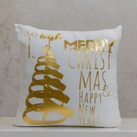 "18"" x 18"" Pillow Xmas Tree Gold - Local Design By Liz"