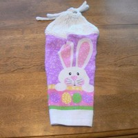 Easter Bunny Kitchen Towel With White Hand Knit Topper and Ties