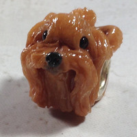 Yorkie - Yorkshire Terrier Polymer Clay Dog European Charm Bead with Crystal Band and Top Knot - NanjoDogz