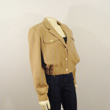 Vintage Coat Aviator Jacket 80s Bill Blass BLASSPORT Bomber Beige And Gold  Breast Pockets Lapel size 8