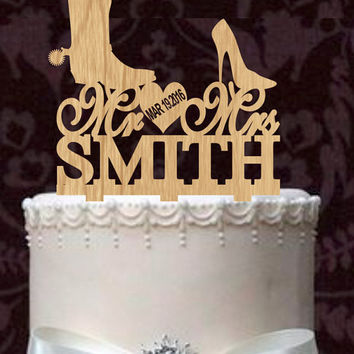 Rustic Wedding Cake Topper, Custom Wedding Cake Topper, Country wedding cake topper, Personalized Wedding Cake Topper, unigue Cake topper