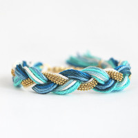 Braid bracelet, teal bracelet, bracelet with brass chain