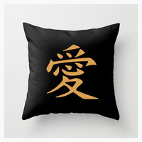 Kanji Love Throw Pillow Cover, Black Gold, Wedding, Bride Gift, Home & Living, Decorative, Graphic Design, Word Art, Typography, Etsy ArtBJC
