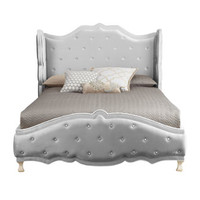 "Silver ""Tabitha"" Queen Tufted Bed"