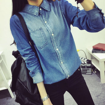 Spring Woman Gradient Color Slim Denim Shirt Female Long-sleeve Shirt Jeans Blouse Tops Outerwear  T46508