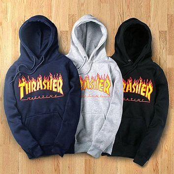 Hot Fashion Women/Men's hoodie sweater Hip-hop skateboard Thrasher Sweatshirts