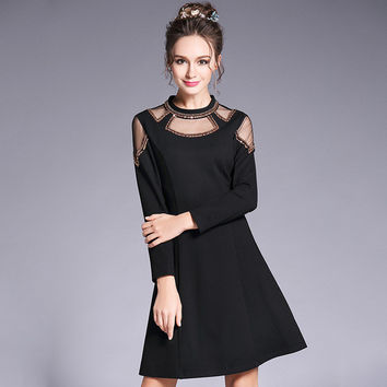 Beaded Cutout Little Black Party Dress Plus Size Women Clothing 2017 Spring Long Sleeve A Dresses Blue Black l to 4xl 5xl