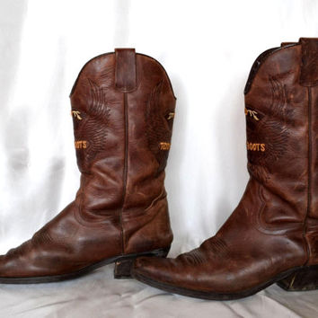 American TEDDY BOOTS Mens Cowboy Brown Boots Leather Sole Heels Light Brown Ready To ship