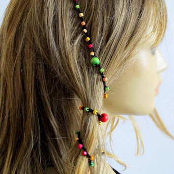 Wood beads crochet hairpin headband Boho Hairband bohemian beaded Hippie handmade Hair Accessories for Women gift ideas headpiece girls