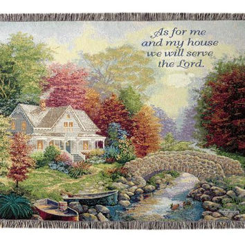 """Inspirational Tapestry Throw Blanket -  """" As For Me And My House We Will Serve The Lord. """""""
