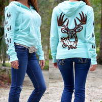 Mint glitter brown buck head jacket