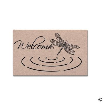 Autumn Fall welcome door mat doormat  Entrance Floor Mat Welcome Dragonfly Mat Indoor Decorative Home and Office  30 by 18 Inch AT_76_7