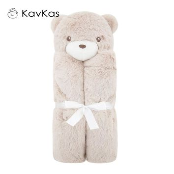 Kavkas Baby Blankets 76x76cm Plush Gift For Newborn Baby Soft Warm Coral Fleece  Animal Toy Head Pink Cow Bedding And Swaddle