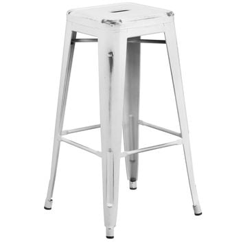 Flash Furniture Distressed White Metal Stool [ET-BT3503-30-WH-GG]