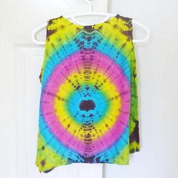 Tie dye tank top mixed color turquoise red size M,L chest 38 inch women sleeveless shirt /Crop shirt/ cute shirt/ Handmade unique shirt