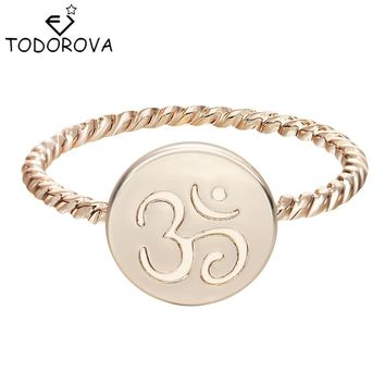 Todorova Unique Om Sign Symbol Yoga Meditation Ring Stackable Rings Women Eco Friendly Encircle Ring for Women Girl Best Gift