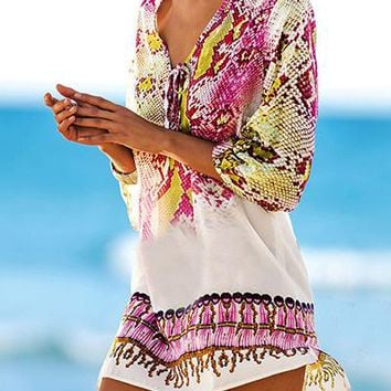 Cover ups Bikini Swimsuit Cover Up 2017 Chiffon Print Snake Beach Cover Up Bathing Suit  Swimwear Cover Up Pareos Robe De Plage TS029 KO_13_1