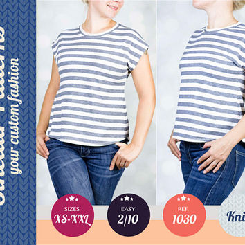 Knit tee for women pdf sewing pattern sewing pattern with step by step sewing tutorial (easy/beginners) XS-XXL plus size