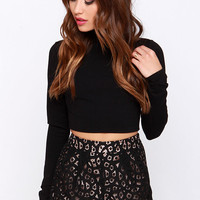 Romantic Antics High-Waisted Black Lace Shorts