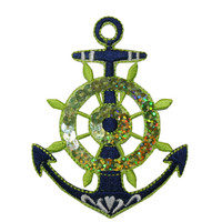 ID #2696 Wheel Nautical Boat Ship Marine Sequins Iron On Applique Patch