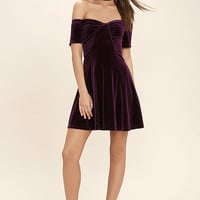 San Junipero Plum Purple Velvet Off-the-Shoulder Dress