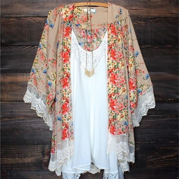 Lady Women's Fashion Floral Print Loose Long Chiffon Cardigan Top Blouse [8833939020]