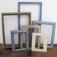 Rustic Picture Frame Set Of 6 Open/Empty Earth Tone Wall Art