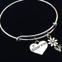 Sister In Law Charm Bangle Adjustable Expandable Meaningful Gift