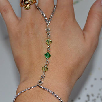 Green Beaded Crystal Handchain