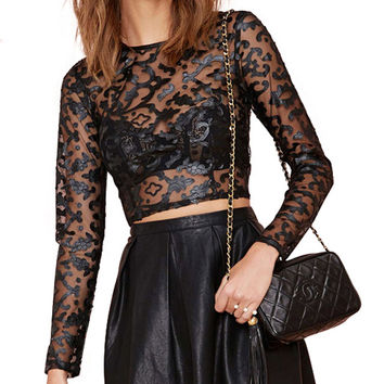 Mesh Printed Long Sleeve Bodycon Cropped Top