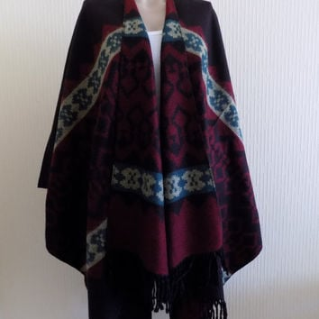 Oversize poncho,Black Cape,Tribal Poncho Outerwear,black burgundy Coat  Fashion Accessories out Wear Aztec Poncho Ethnic Poncho Tribal cape