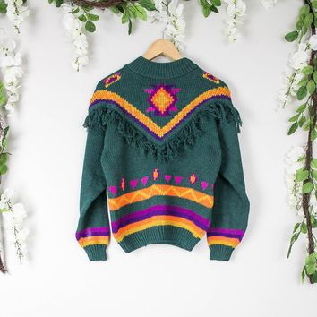 Vintage Aztec Green Fringe Sweater