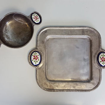 Vintage Mexican Serving Tray and Bowl Set with Painted Ceramic Handles, Chip and Dip Guacamole Set, Mexican Folk Aluminum Tray and Bowl Set