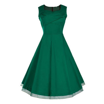 Vintage Hepburn Style Sleeveless Square Dress   dark green   S