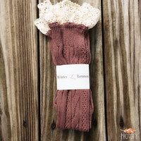 Knee High Boot Sock with Lace Crochet Detail