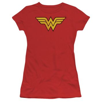 Wonder Woman Logo Dist Short Sleeve Junior Sheer