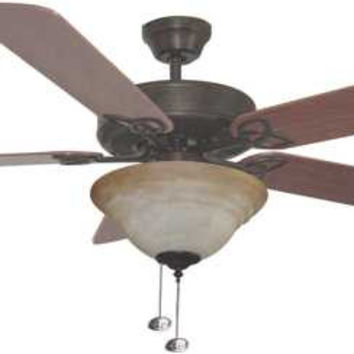 "Bala 52"" Dual Mount Ceiling Fan With Bowl Light Kit, Aged Bronze 283021"
