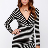 Pleasant Surplice Black and Ivory Striped Dress