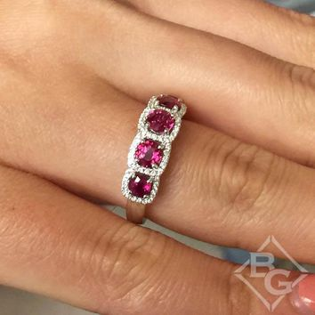 "Simon G. Diamond Five Stone Ruby & Diamond ""Halo"" Anniversary Ring"