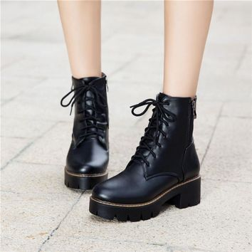 YMECHIC 2018 Autumn Street Lady White Punk Rock Lace Up Platform Chunky Medium High Heels Ankle Motorcycle Military Boots Shoes