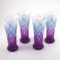 Pilsner Glasses - Strands - Set of 4 - Blue and Purple Frost - Custom Painted Glassware