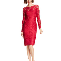 Adrianna Papell Long-Sleeve Illusion Lace Sheath