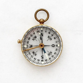 1970s Transparent Compass Pendant / Vintage German Pocket Compass