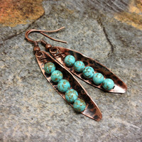 Rustic turquoise and copper stamped earrings bohemian boho  peas in a pod earring