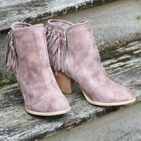 Not Rated Flippin' Fringe Taupe Stacked Ankle Boot With Chain & Suede Fringe Tassels