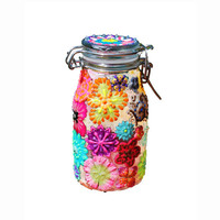 Glow in the Dark Textured Flower Hand-Painted Glass Stash Jar