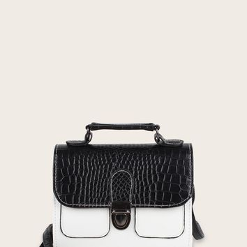 Two Tone Croc Embossed Satchel Bag
